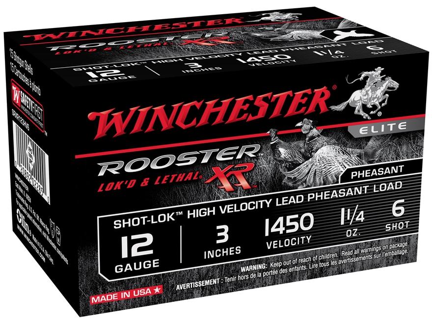 "Winchester Rooster XR Pheasant Ammunition 12 Gauge 3"" 1-1/4 oz #6 Shot-Lok Copper Plate..."