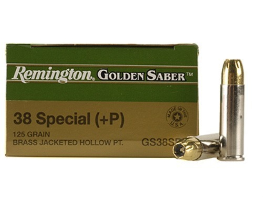 Remington Golden Saber Ammunition 38 Special +P 125 Grain Brass Jacketed Hollow Point B...