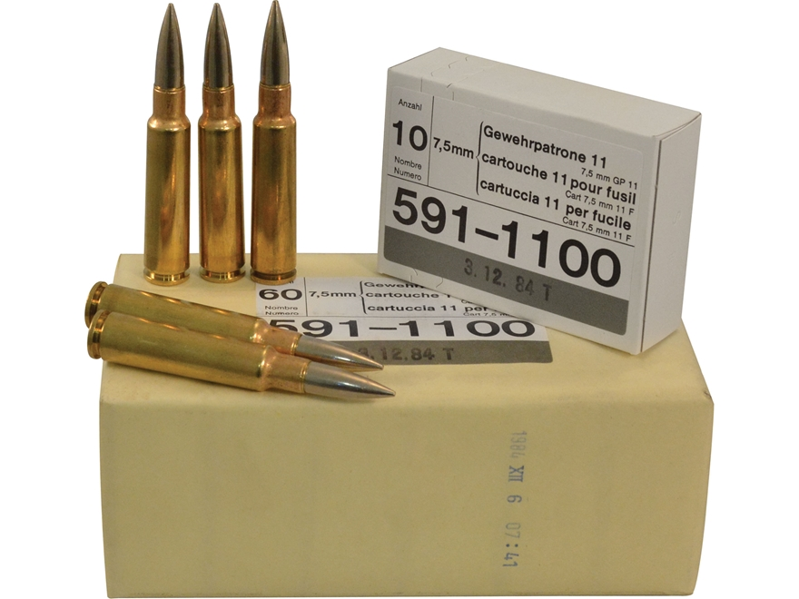 Surplus Ammunition 7.5mm Schmidt-Rubin (7.5x55mm Swiss) 174 Grain Full Metal Jacket GP 11