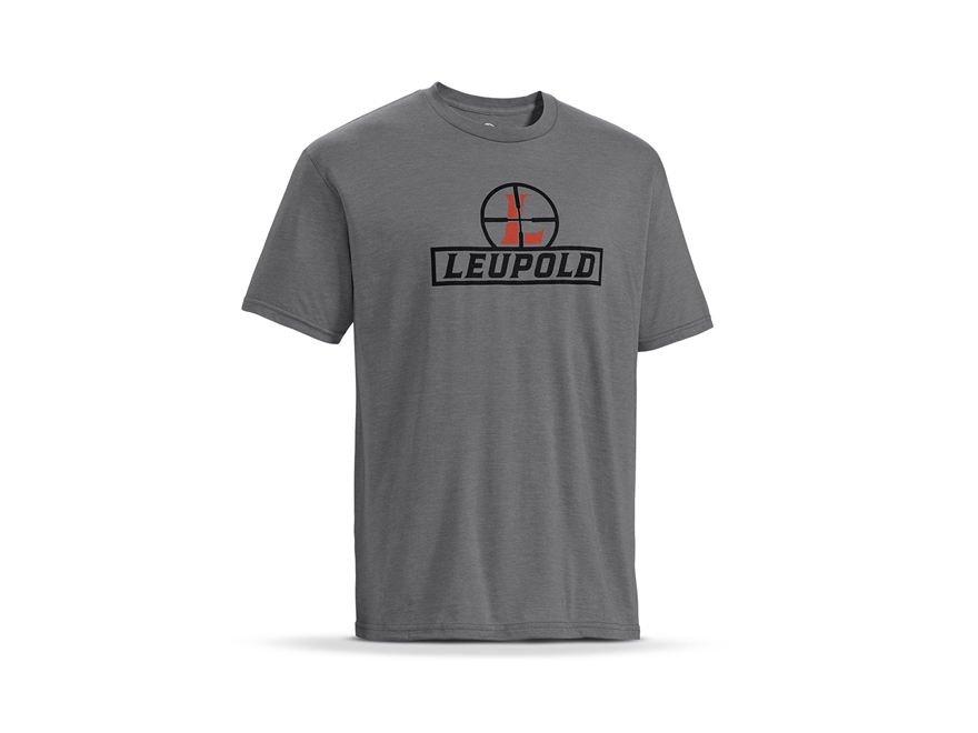 Leupold Men's Reticle Logo T-Shirt Short Sleeve Cotton/ Polyester Blend Heather Gray