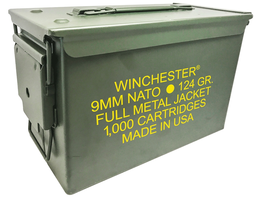 Winchester NATO Ammunition 9mm Luger 124 Grain Full Metal Jacket Ammo Can of 1000 (10 B...
