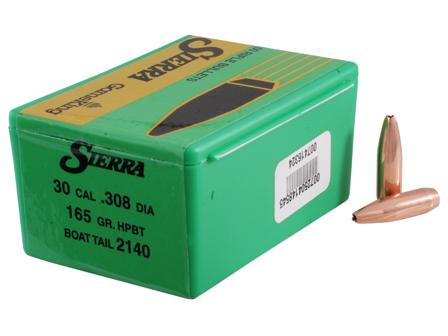 Sierra GameKing Bullets 30 Caliber (308 Diameter) 165 Grain Hollow Point Boat Tail Box ...