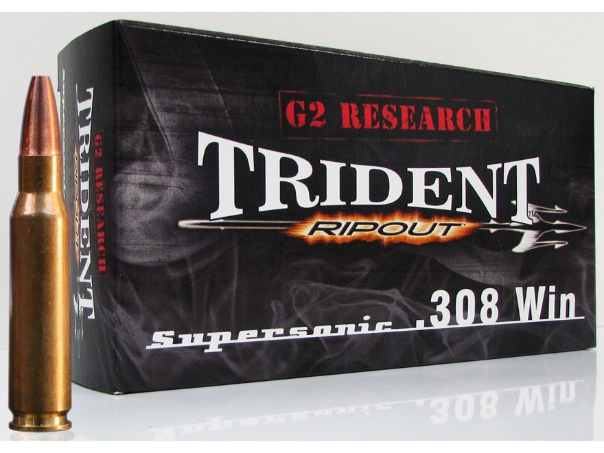 G2 Research RIP-OUT Trident Ammunition 308 Winchester 150 Grain Expanding Solid Copper ...