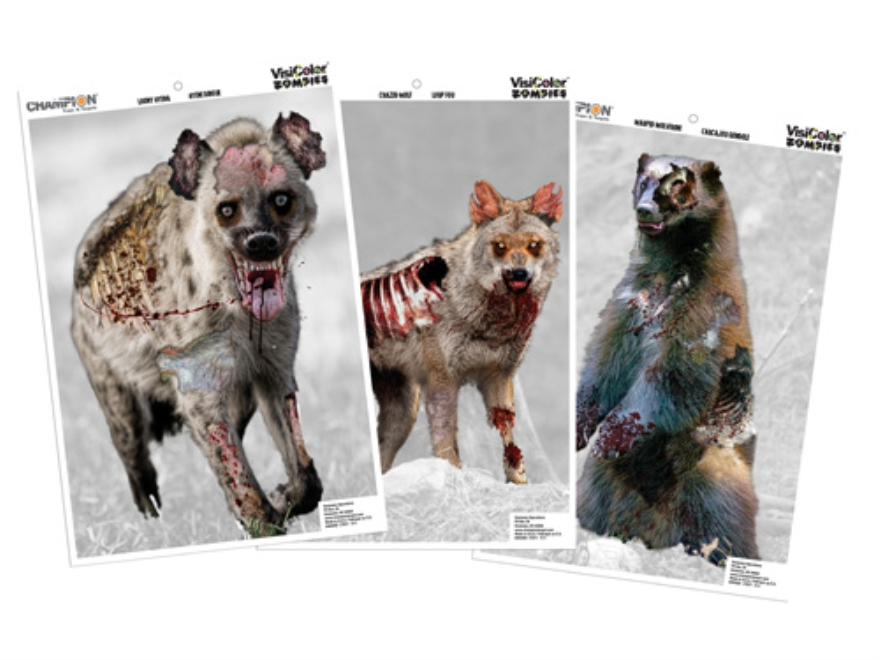 "Champion VisiColor Zombie Vicious Animal Variety Pack Targets 12"" x 18"" Paper Package of 6"