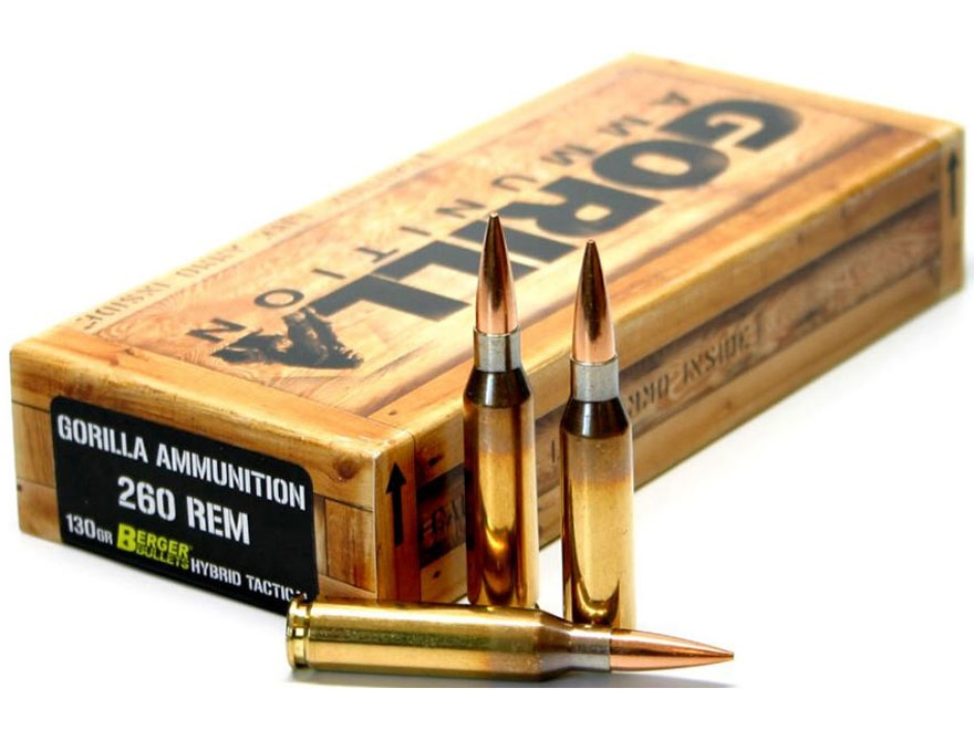 Gorilla Ammunition 260 Remington 130 Grain Berger Hybrid Tactical Open Tip Match