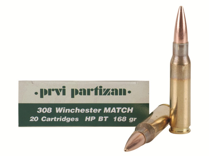 Prvi Partizan Match Ammunition 308 Winchester 168 Grain Hollow Point Boat Tail Box of 20