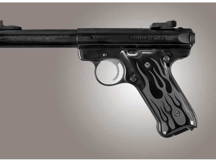 Hogue Extreme Series Grip Ruger Mark II, Mark III Flames Aluminum Black
