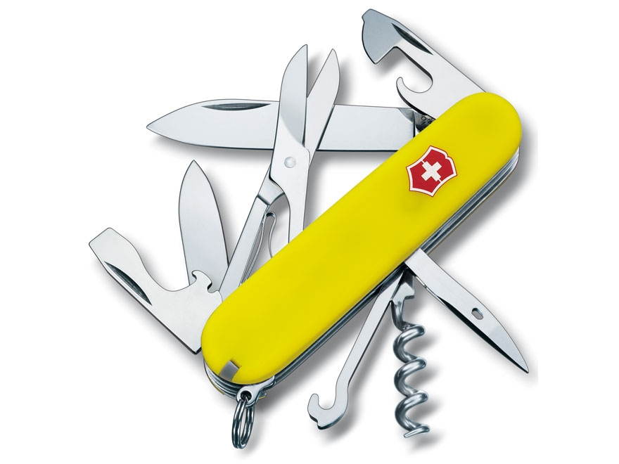 Victorinox Swiss Army Climber Folding Pocket Knife 14 Function Stainless Steel Blade Po...