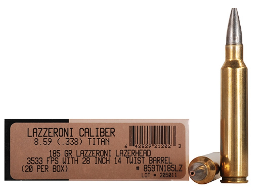 Lazzeroni Ammunition 8.59 Titan 185 Grain LazerHead Copper X Bullet Boat Tail Box of 20