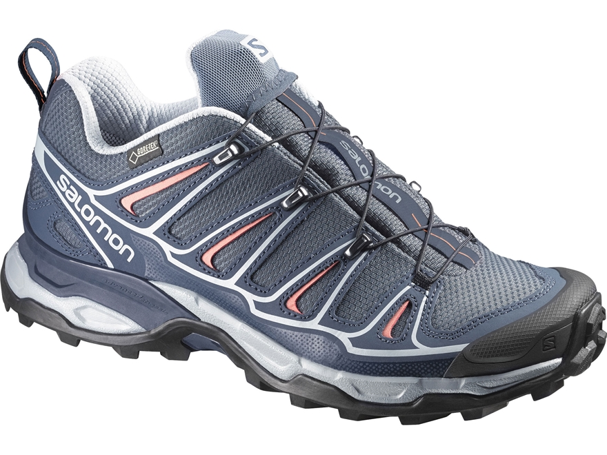 "Salomon X Ultra 2 GTX 4"" Waterproof Hiking Shoes Synthetic Grey Denim/Deep Blue/Melon B..."