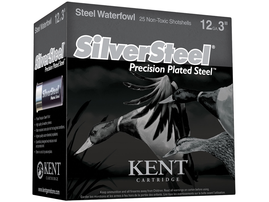 "Kent Cartridge SilverSteel Precision Plated Steel Ammunition 12 Gauge 3"" 1-1/4 oz #3 No..."