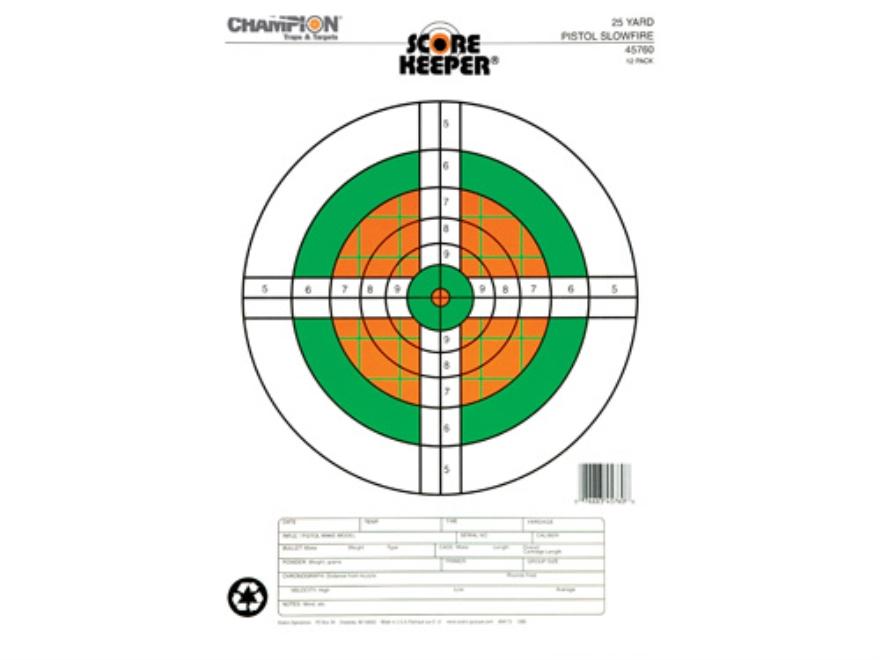 "Champion Score Keeper  25 Yard Slow Fire Pistol Targets 11"" x 16"" Paper Fluorescent Ora..."