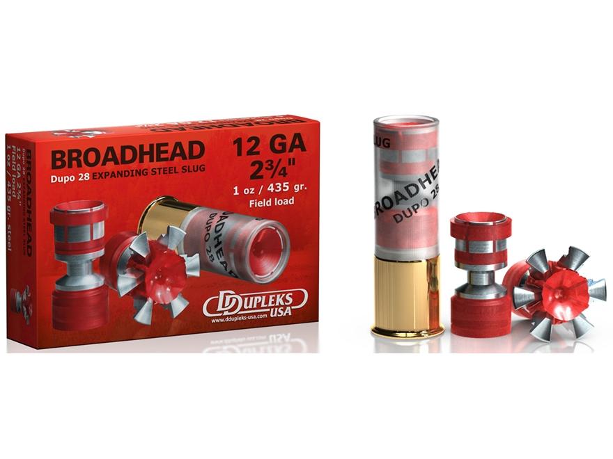 "DDupleks Broadhead Dupo 28 Ammunition 12 Gauge 2-3/4"" 1 oz Expanding Steel Slug Lead-Fr..."