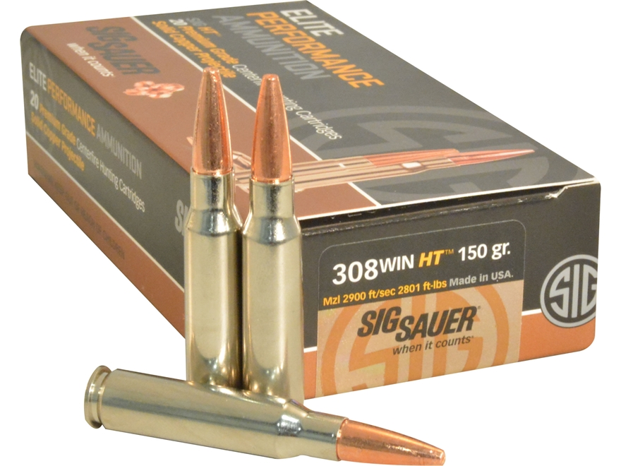 Sig Sauer Elite Performance Hunting HT Ammunition 308 Winchester 150 Grain Solid Copper...