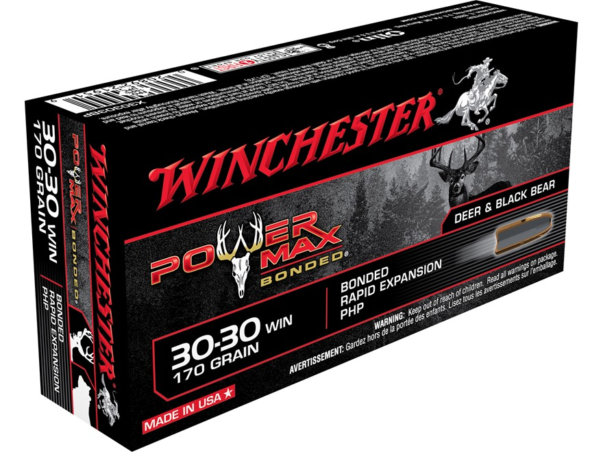 Winchester Power Max Bonded Ammunition 30-30 Winchester 170 Grain Protected Hollow Point