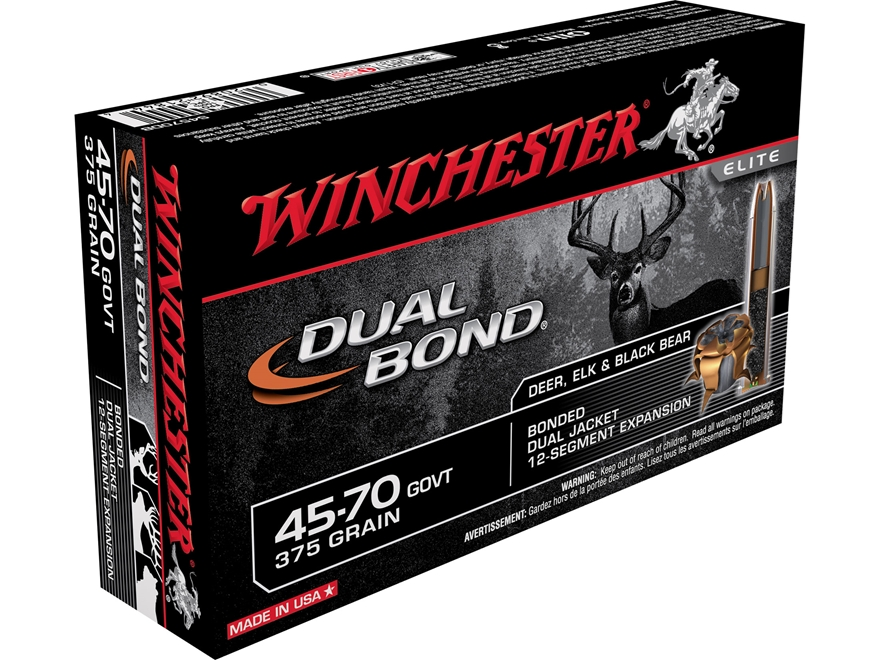 Winchester Dual Bond Ammunition 45-70 Government 375 Grain Jacketed Hollow Point
