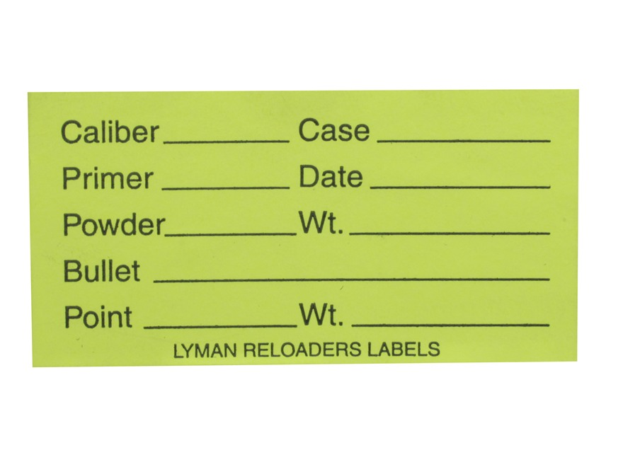 "Lyman Peel and Stick Reloader's Labels Rifle/Pistol 1"" x 2"" Fluorescent Green Pack of 75"