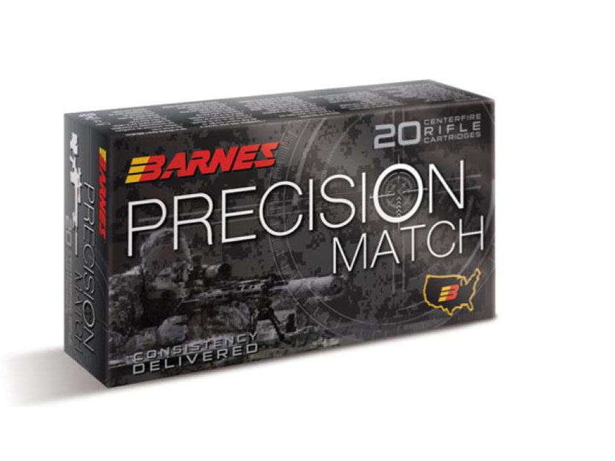 Barnes Precision Match Ammunition 300 Winchester Magnum 220 Grain Open Tip Match Box of 20