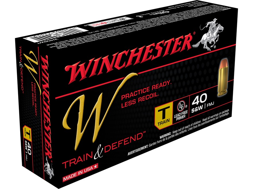 Winchester W Train Reduced Recoil Ammunition 40 S&W 180 Grain Full Metal Jacket