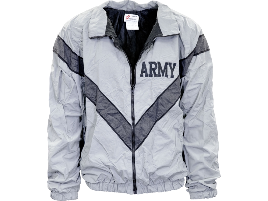 Military Surplus Army Physical Training (PT) Jacket Grade 1 Gray Large Regular
