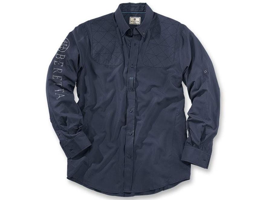Beretta Men's V-2 Tech Shooting Shirt Long Sleeve Polyester Ripstop Navy XL 46-48