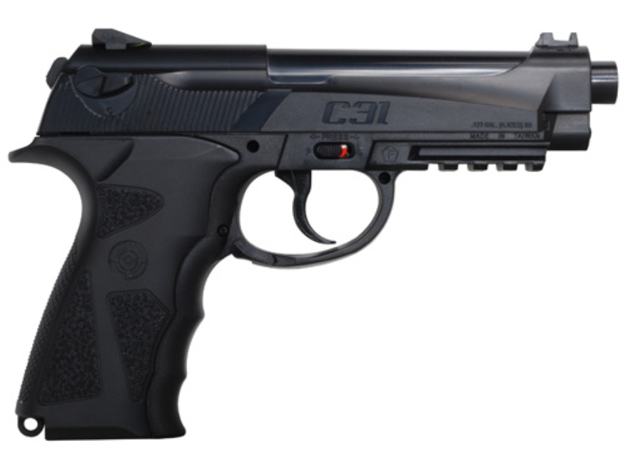 Crosman C31 Air Pistol 177 Caliber BB Black Polymer Grips Blue Barrel