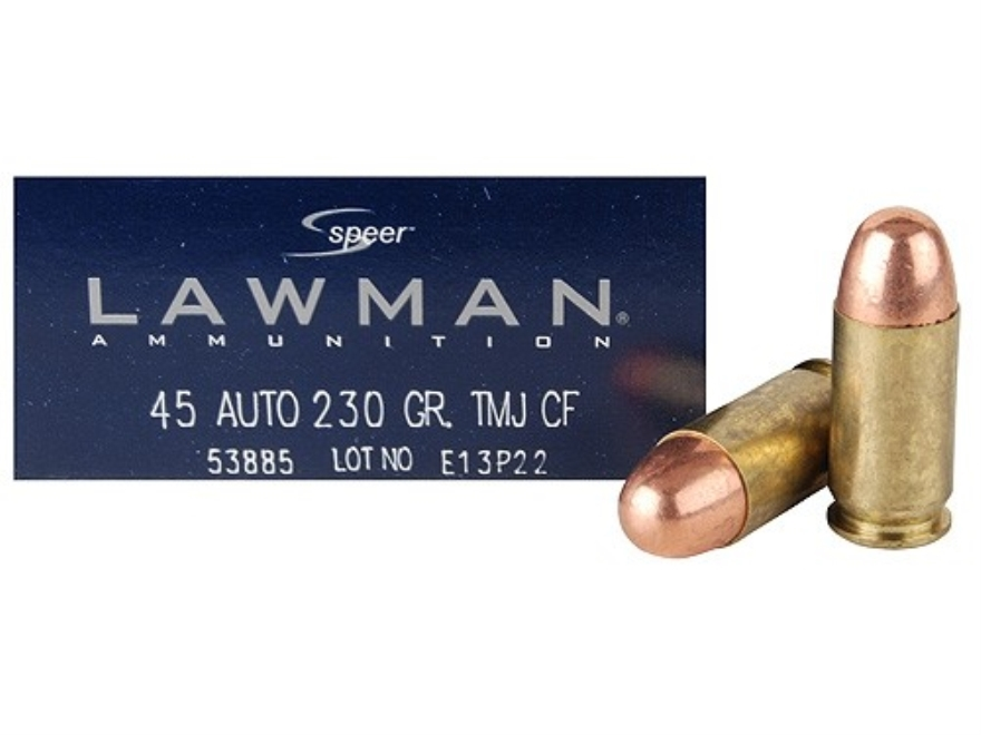 Speer Lawman Cleanfire Ammunition 45 ACP 230 Grain Total Metal Jacket Box of 50