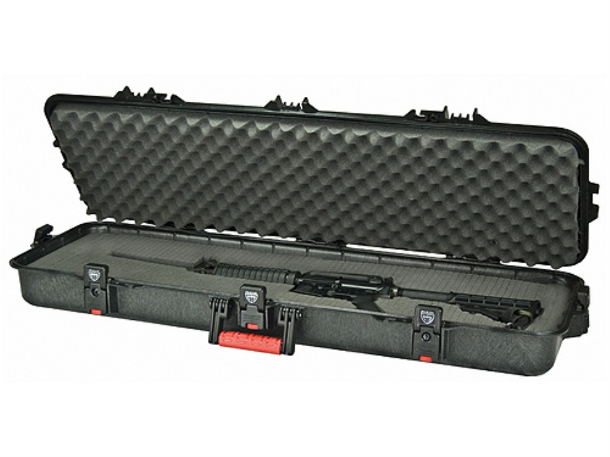 """Plano AW All Weather Series 42"""" Tactical Rifle Gun Case Polymer Black with Red Handles"""