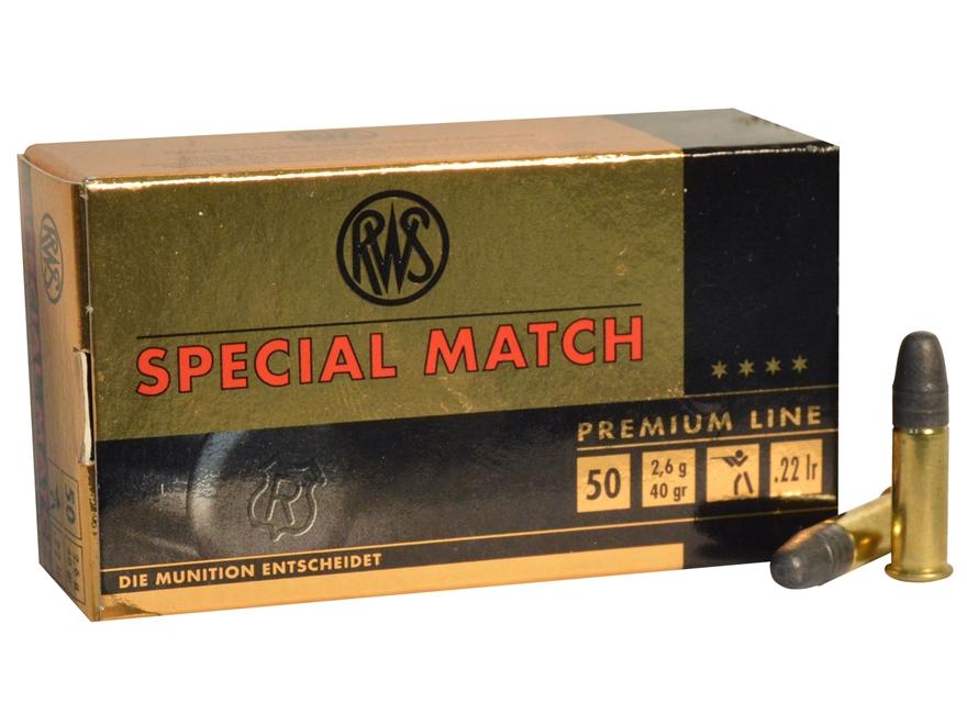 RWS Special Match Ammunition 22 Long Rifle 40 Grain Lead Round Nose