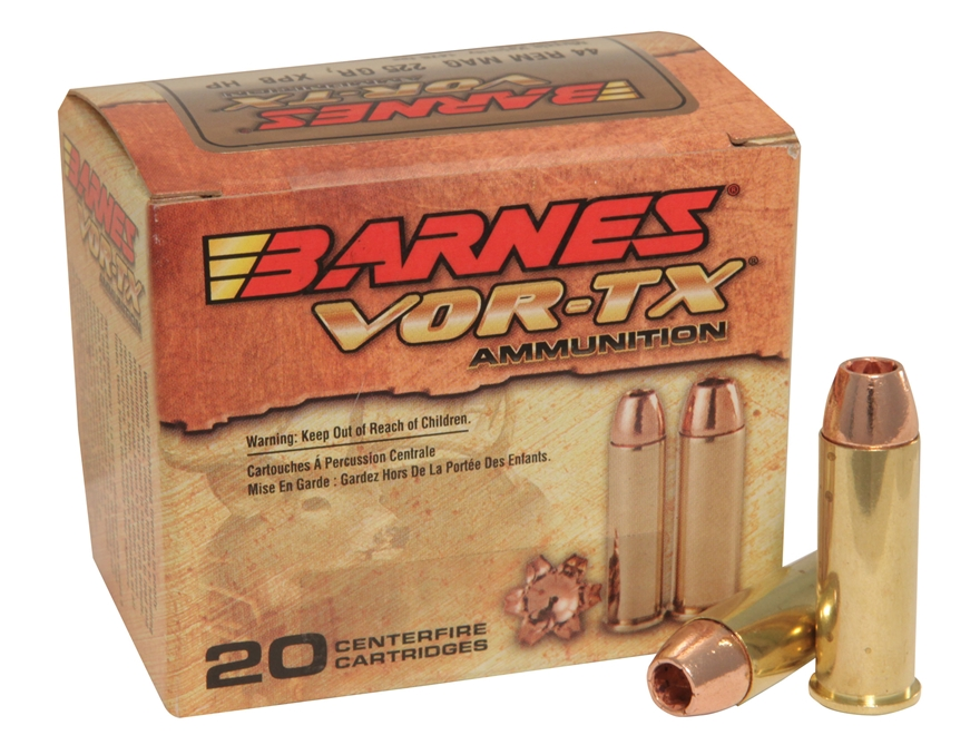 Barnes VOR-TX Ammunition 44 Remington Magnum 225 Grain XPB Hollow Point Lead-Free Box o...
