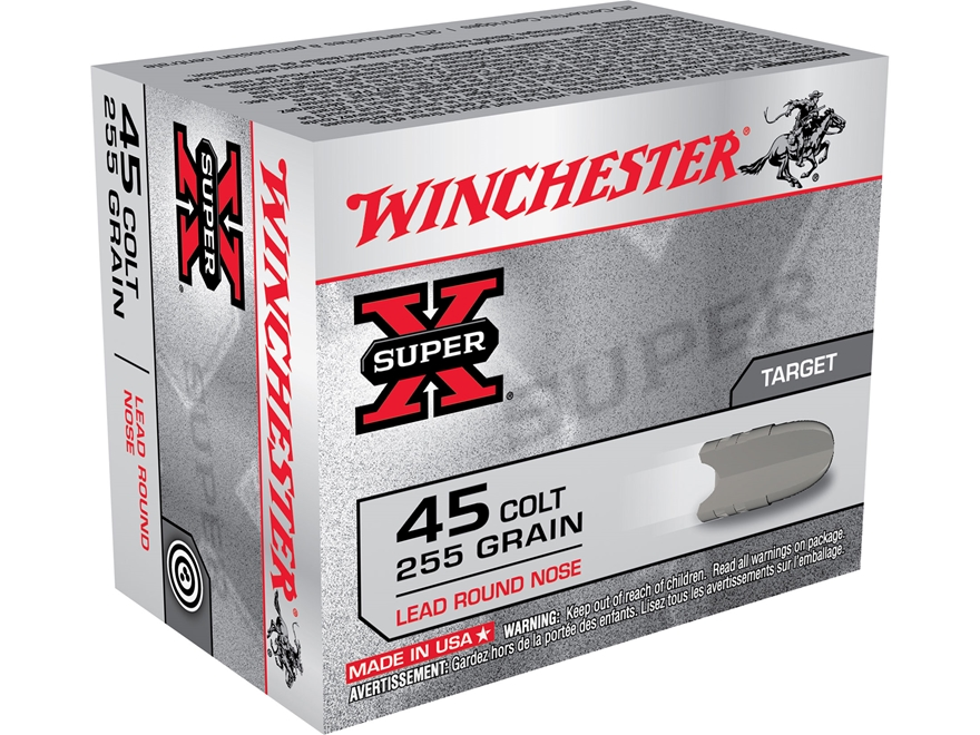 Winchester Super-X Ammunition 45 Colt (Long Colt) 255 Grain Lead Round Nose