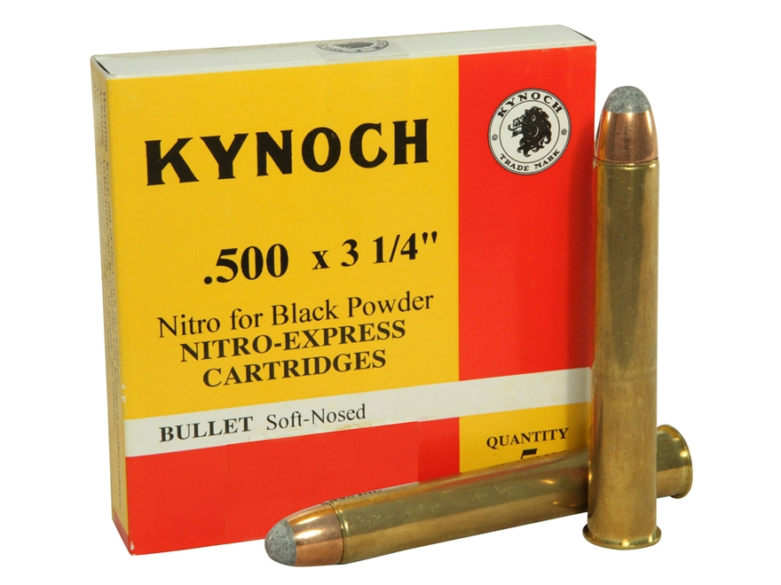 "Kynoch Ammunition 500 Nitro Express 3-1/4"" 570 Grain Woodleigh Weldcore Soft Point  Box..."
