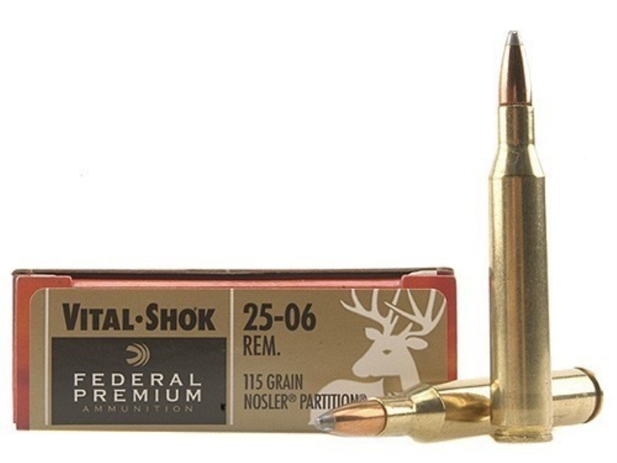 Federal Premium Vital-Shok Ammunition 25-06 Remington 115 Grain Nosler Partition Box of 20