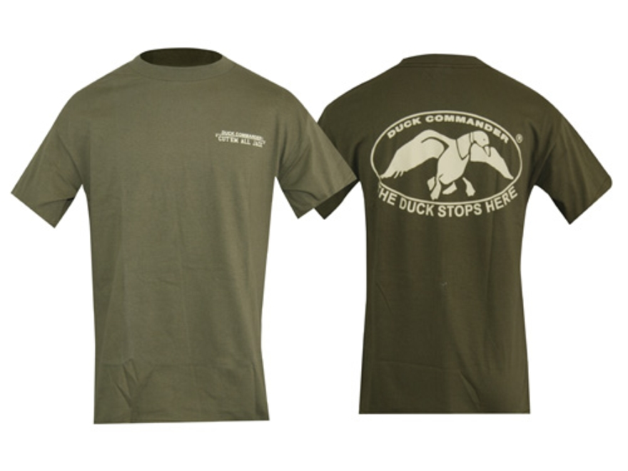 Duck Commander Duck Stops Here T-Shirt Short Sleeve Cotton Moss 2XL 48-50
