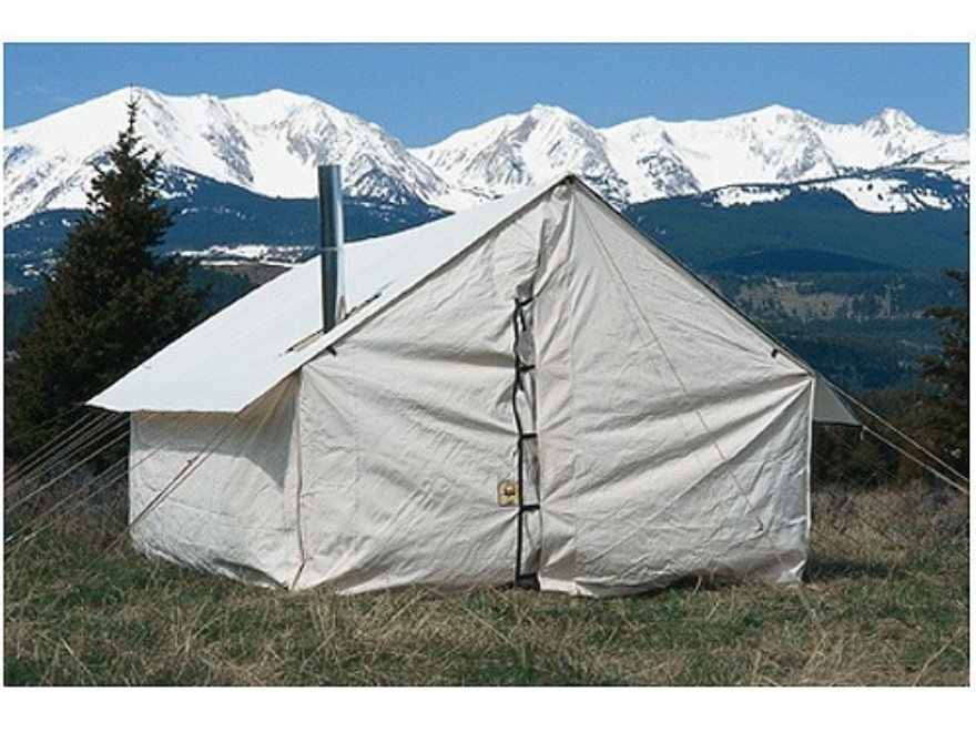 Montana Canvas Wall Tent 12' x 14' With Aluminum Frame, 2 Windows, Screen Door, Stove J...