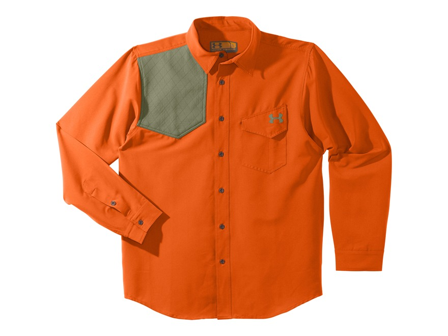 Under Armour Men's UA Prey Shooting Shirt Long Sleeve Polyester Blend Blaze Orange and ...