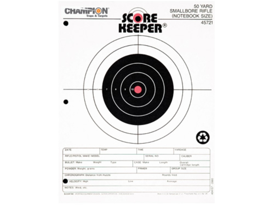 "Champion Score Keeper 50 Yard Small Bore Notebook Targets 8.5"" x 11"" Paper Orange Bull ..."