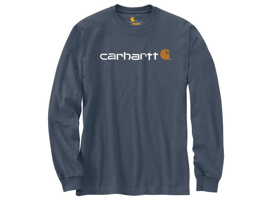 Carhartt Men's Signature Logo Midweight Jersey Graphic T-Shirt Long Sleeve Cotton