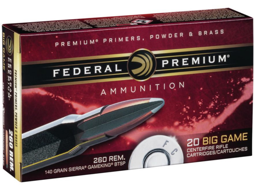 Federal Premium Vital-Shok Ammunition 260 Remington 140 Grain Sierra GameKing Boat Tail