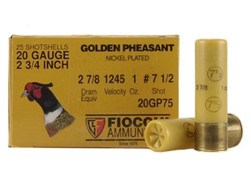 "Fiocchi Golden Pheasant Ammunition 20 Gauge 2-3/4"" 1 oz #7-1/2 Nickel Plated Shot Box o..."