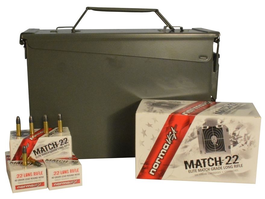 Norma USA Match-22 Ammunition 22 Long Rifle 40 Grain Lead Round Nose Ammo Can of 1500 (...