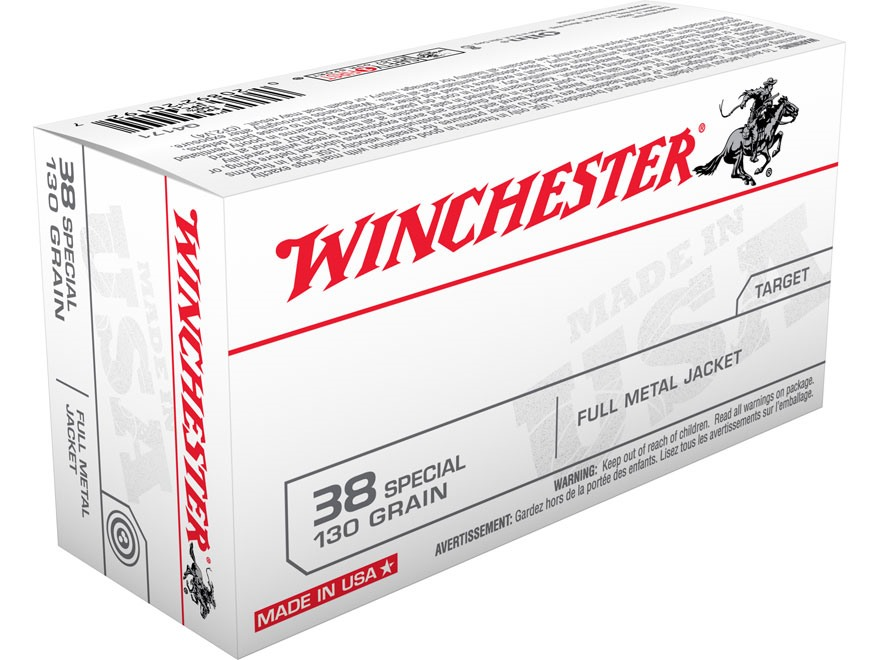 Winchester USA Ammunition 38 Special 130 Grain Full Metal Jacket