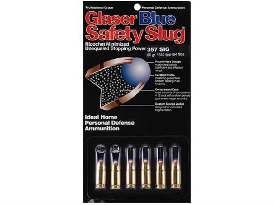 Glaser Blue Safety Slug Ammunition 357 Sig 80 Grain Safety Slug Package of 6