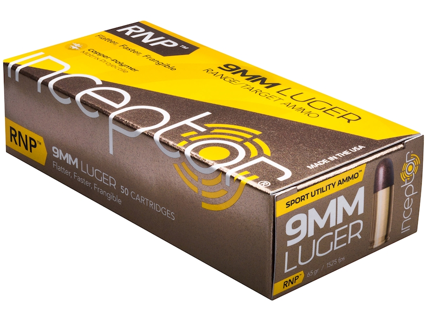 Polycase Inceptor Sport Utility Ammunition 9mm Luger 65 Grain Frangible RNP Lead-Free