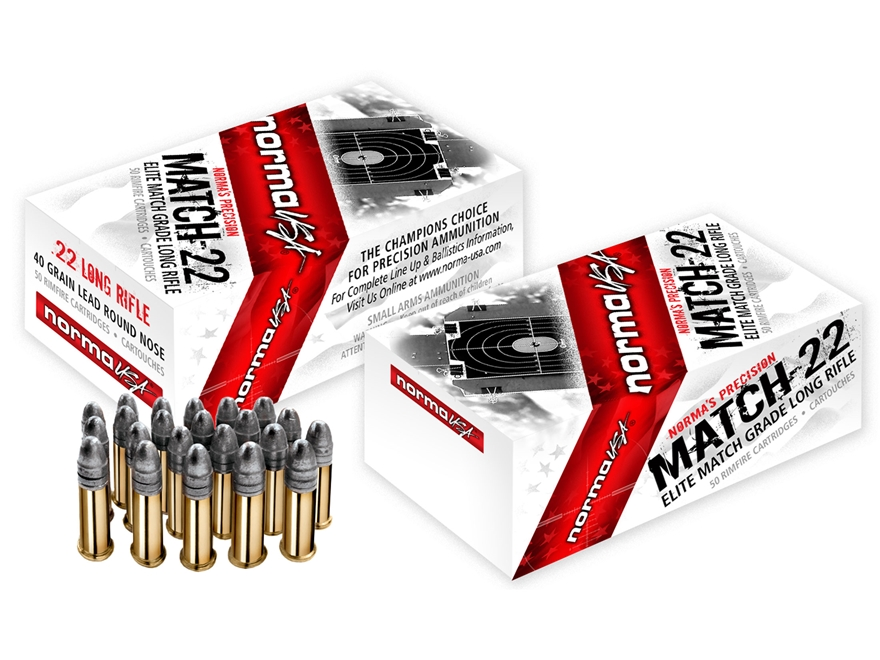 Norma USA Match-22 Ammunition 22 Long Rifle 40 Grain Lead Round Nose