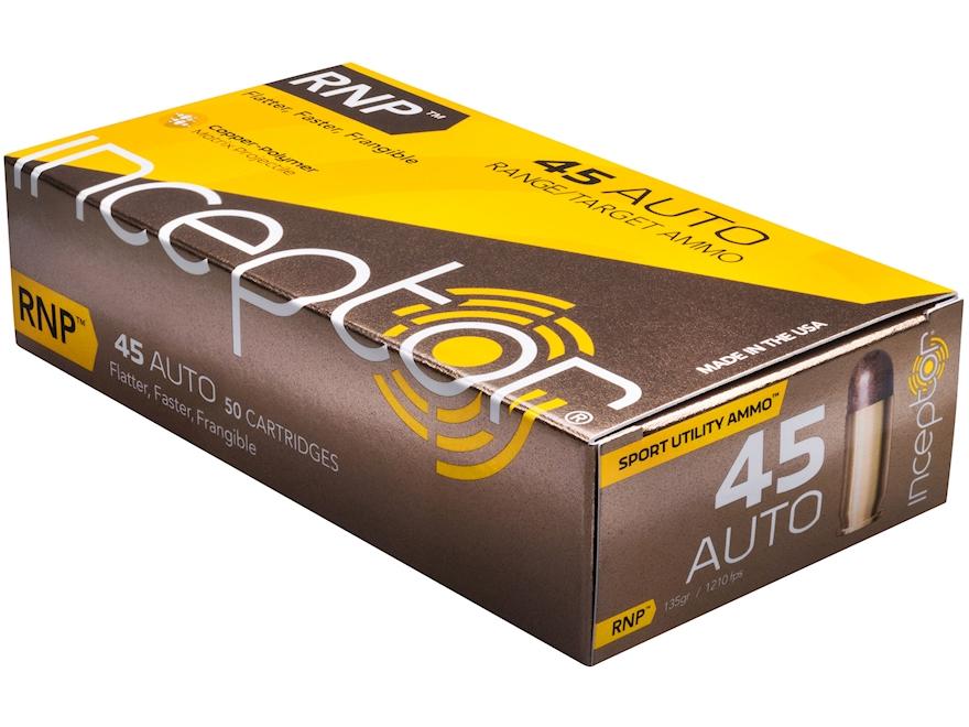 Polycase Inceptor Sport Utility Ammunition 45 ACP 130 Grain Frangible RNP Lead-Free