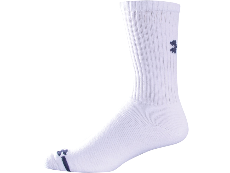 Under Armour Men's Charged Cotton Crew Socks Cotton Polyester Blend White Medium (4-8-1...