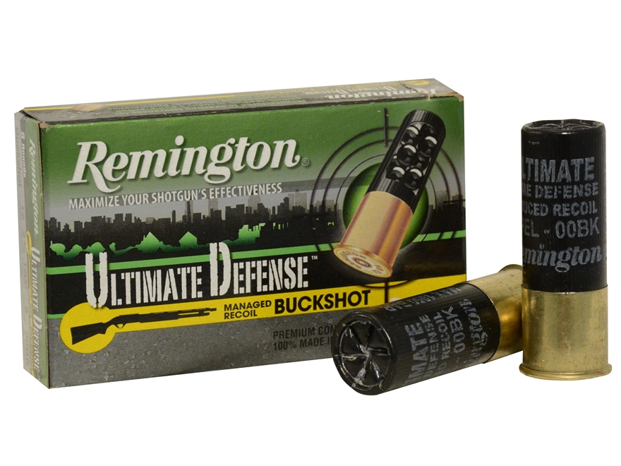 "Remington Ultimate Defense Ammunition 12 Gauge 2-3/4"" 00 Buckshot 8 Pellets Box of 5"