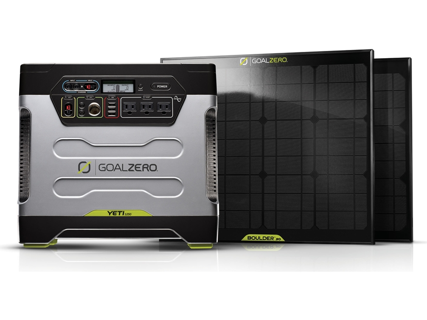 GoalZero Yeti 1250 Solar Generator Kit with 2 Boulder 30 Solar Panels
