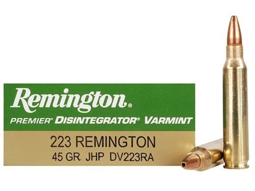 Remington Disintegrator Varmint Ammunition 223 Remington 45 Grain Jacketed Iron Core Ho...